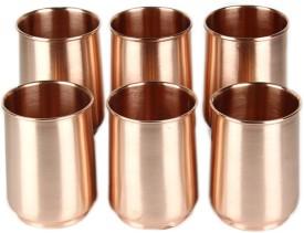 Kalpaveda Copper Plain Glass Set of 6 pcs