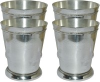 Prisha India Craft Designer High Quality Silver Coating Tumbler , Set Of 4 Glass033-4 (300 Ml, Silver, Pack Of 4)