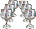 Dekor World Silver Hand Crafted Wine Glass Set DWDT-0267 - 100 Ml, Silver, Pack Of 6