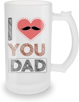 SKY TRENDS I Love You Dad With Cute Pink Heart And Black Mustaches Special Gifts For Happy Father's Day Glass Beer Mug (500 Ml, Multicolor, Pack Of 1)