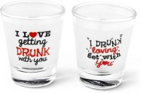 Happily Unmarried I Love Getting Drunk Shot Glass (50 Ml, White, Pack Of 2)
