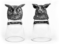 Trove Animal Head Shot Glasses,50ml,Set Of 2-Combo 49 (50 Ml, Silver, Pack Of 2)