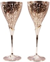 Indian Art Villa Gorgeous Silver Champain Glass Cup With Stand For Cocktail Wine Party Wedding (200 Ml, Gold, Pack Of 2)