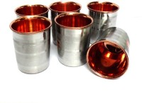 F & S Creations Steel Copper Glasses (250 Ml, Silver, Pack Of 6)