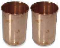Prisha India Craft Drinkware Copper Tumbler Glasses For Ayurveda Healing Glass012-2 (320 Ml, Gold, Pack Of 2)