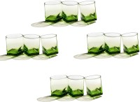 Pasabahce Gp/CARRE WHISKY GLASS GREEN (310 Ml, Clear, Pack Of 12)