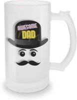 SKY TRENDS Awesome Dad With Black Stylish Cap And Mustaches Special Gifts For Dad Father's Glass Beer Mug (500 Ml, Multicolor, Pack Of 1)