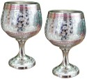 Dekor World Silver Hand Crafted Wine Glass Set DWDT-0265 - 100 Ml, Silver, Pack Of 2