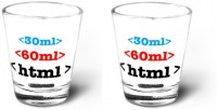 Happily Unmarried Html Kitchen Shot Glass (30 Ml, White, Pack Of 2)
