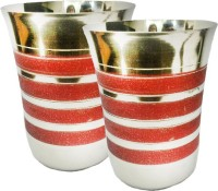 King International Corporate Drinking Glasses/ Gifting Glasses/With Red Sparkle Lining Set Of 2 Pcs KI-SS-GLS-CRSK-012 (250 Ml, Silver, Red, Pack Of 2)