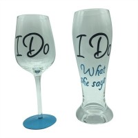 The Crazy Me I Do And I Do What She Says Beer And Wine Set (750 Ml, White, Pack Of 2)