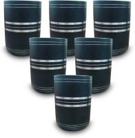 King International - Silver Lining Black Glass Set Of 6 Pcs KI-SS-BLK-GLS-06-123 (250 Ml, Black, Pack Of 6)