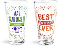 Happily Unmarried B'day Beer Glass (350 Ml, White, Pack Of 2)
