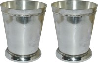 Prisha India Craft Designer High Quality Silver Coating Tumbler , Set Of 2 Glass033-2 (300 Ml, Silver, Pack Of 2)