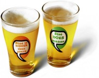 Happily Unmarried English Beer Glass (350 Ml, White, Pack Of 2)