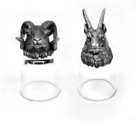Trove Animal Head Shot Glasses,Set Of 2-Combo 45 (50 Ml, Silver, Pack Of 2)