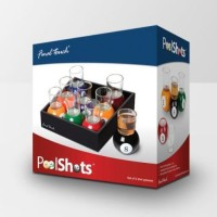 Taino Pool Shot Glasses With Tray (40 Ml, Multicolor, Pack Of 10)