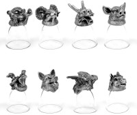 Trove Animal Head Shot Glasses,Set Of 8-Combo 02 (30 Ml, Silver, Pack Of 8)