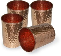 Dungri India Craft Pure Copper Drinkware Hammered Tumbler Glass021-4 (240 Ml, Brown, Pack Of 4)
