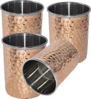 Prisha India Craft Tumbler Set Of 4, Ayurveda Healing Drinkware Glass020-4 (240 Ml, Gold, Pack Of 4)