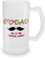 SKY TRENDS I Love Dad He Is My Super Hero ! With Mustaches And Pink Heart Special Gifts For Father's Day Glass Beer Mug (500 Ml, Multicolor, Pack Of 1)