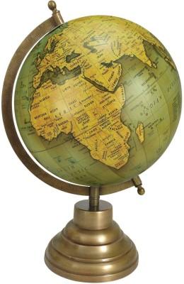 Globeskart Designer Olive Green Gold With Antique Brass Finish Stand Desk & Table Top Political World Globe (Medium Olive Green)