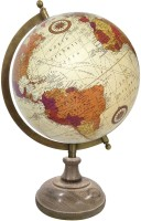 Globeskart Designer Cream Multicolour With Wooden Base And Brass Finish Arc Desk & Table Top Political World Globe (Medium Cream)
