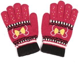 Zanky Stylish Red Self Design Winter Women's Gloves