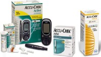 Accu-Chek Active With 110 Strips & 25 Lancets Super Combo With Glucometer (Green White)