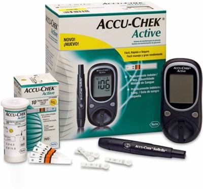 Accu-Chek Active Glucose Monitor with 10 Strips Glucometer Black