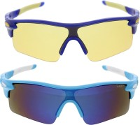 Vast Pack Of All Sports And Driving UV Protection Wrap Around Smart Cricket Goggles (Blue)