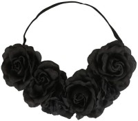 Toniq Festival Floral Black Rose Tiara Head Band (Black)