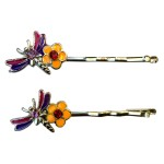 B Fashionable Hair Accessories Small Dragonfly & Flower Bobby