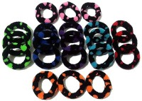 Best & Lowest Soft Dark Multicolor Round Design Rubber Hair Band - Set Of 21 Pcs. Rubber Band Multicolor