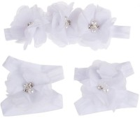 BabyZinnia Newborn Girl Rosette Pearl Kids Hair Accessory Set (White)