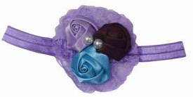 Pink & Blue India Kids Three Soft Flower with Net Head Band