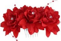Pink Rose Rose Charm Hair Pin (Red)