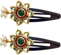 B-Fashionable Kundan Flower Tic Tac Clip Green, Red, Gold