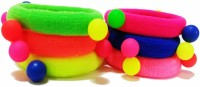 Opc Neon Elastic Designer Hair Accessory - Pack Of 6 Rubber Band (Pink, Green, Yellow, Red, Blue)
