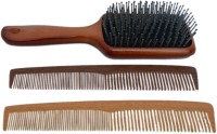 Celebrity Premium Collection Wooden Look Hair Brush With Comb Combo