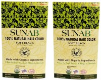 Sunab Certified Organic & 100% Natural-Soft Black-Twin Pack Hair Color (Soft Black)