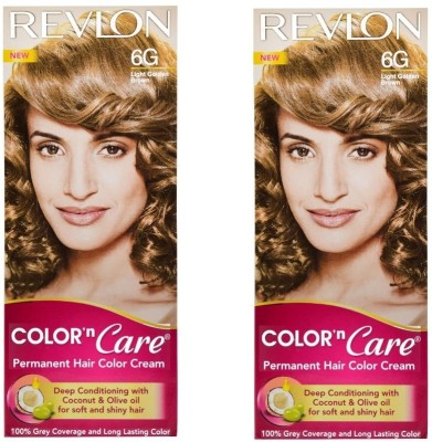Revlon Color N Care Permanent Hair Color Cream - Light Golden Brown 6G - Pack Of 2 Hair Color - Light Golden Brown