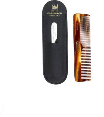 Kent Authentic Handmade Pocket Comb with Metal File and Real Calf Leather Case - 110mm