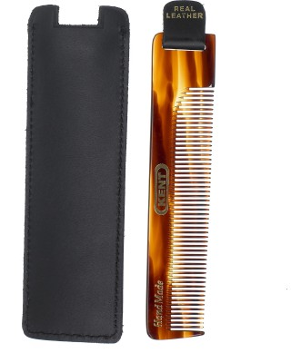 Kent Authentic Handmade Fine Comb With Leather tab and Leather Case - 120mm