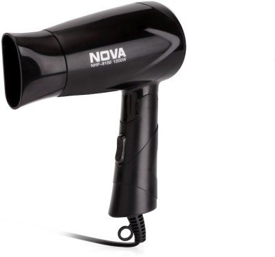 Nova Silky Shine 1200 W Hot And Cold Foldable NHP 8100 Hair Dryer (Black)