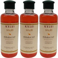 Khadi Mauri Shikakai Hair Oil Pack Of 3 Herbal Ayurvedic & Natural 210 Ml Each Hair Oil (630 Ml)