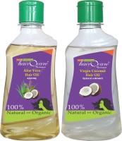 Hairocare Aloe Vera (200 Ml) + Virgin Coconut (200 Ml) - Natural Moisturizer & Anti-Oxidant - Hair Oil (400 Ml)