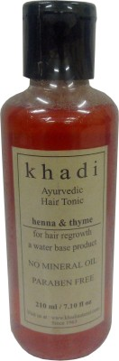 Khadi Ayurvedic Hair Regrowth Tonic - Henna & Thyme (Paraben Free) - 210 Ml