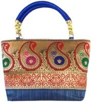 Bhamini Traditional Mango Hand-held Bag Blue-01