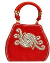 Craftstages Velvet Tomato Ethnic Hand-held Bag - Pink